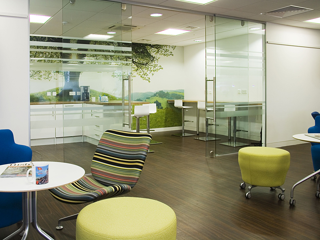 glazed walls, suspended ceilings, fit out, murals, glass doors